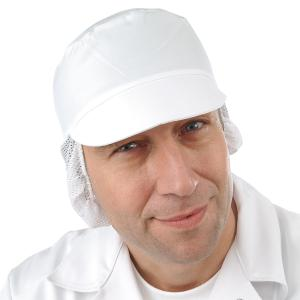 Schildmütze mit AF-Haarnetz weiß - waschbar